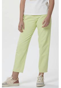 Calça Básica Feminina Em Sarja Verde