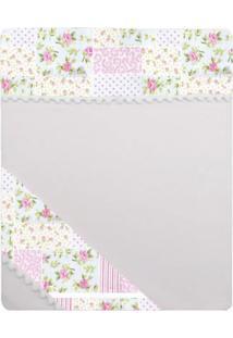 Lençol Para Cercado 3 Peças Baby Deluxe Flores Rosa