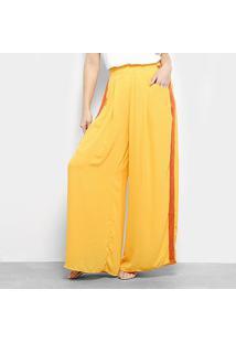 Calça Pantalona Morena Rosa Palazzo Cintura Alta Feminina - Feminino-Amarelo+Laranja