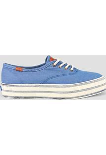 2c8579e7e5b Tênis Azul Listras feminino