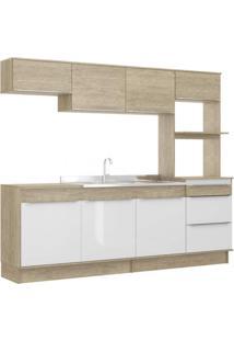 Cozinha Compacta 7 Portas 3 Gavetas Com Rodapé Slim Decibal Acácia/Branco