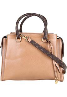 8fbfdb152 ... Bolsa Couro Luz Da Lua Handbag Monograma Feminina - Feminino-Bege+Marrom