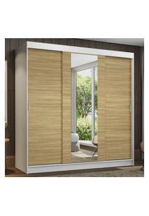 Guarda-Roupa Casal Madesa Reno 3 Portas De Correr Com Espelho - Branco/Carvalho Marrom