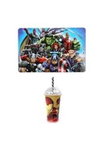 Kit Avengers Jogo Americano E Copo Shake Homem De Ferro