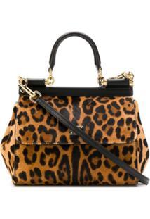 Dolce & Gabbana Sicily Leopard Print Tote - Preto