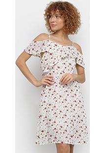 Vestido Pérola Open Shoulder Floral - Feminino-Branco