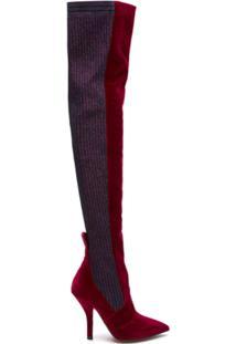 Fendi Bota Over The Knee De Veludo - Vermelho