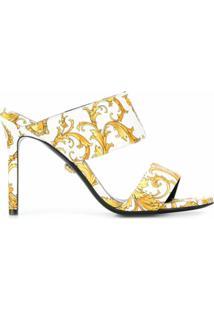 Versace Sandália Com Estampa Barocco Virtus - Branco