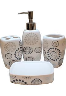 Conjunto De Acessórios Para Banheiro Em Cerâmica Mandalas Com 4 Peças Branco E Preto
