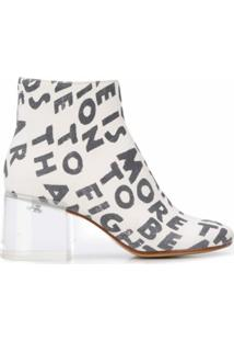 Mm6 Maison Margiela Ankle Boot Com Estampa - Branco