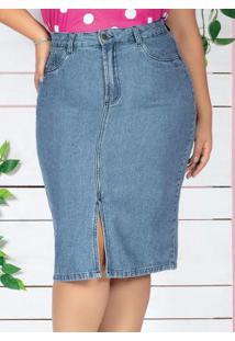 Saia Midi Jeans Com Fenda Plus Size