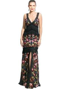 Vestido Longo Uh Premium Crepe Estampa Floral - Feminino-Preto