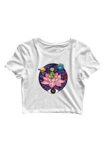 Blusa Blusinha Cropped Tshirt Camiseta Feminina Alien Et Na Flor Branco