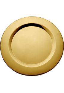 Sousplat Em Inox Le Gold Dourado 33Cm