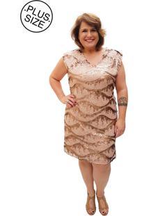 2066aa56d R$ 349,70. Dafiti Vestido Madee Paete Plus Size Dourado