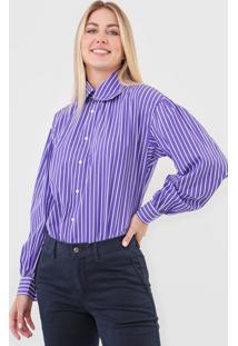Camisa Polo Ralph Lauren Reta Listrada Roxa
