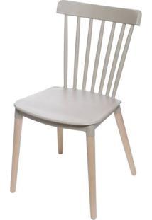 Cadeira Jana Polipropileno Cor Fendi Base Madeira - 53520 Sun House