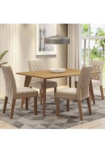 Conjunto Sala De Jantar Madesa Adele Mesa Tampo De Madeira Com 4 Cadeiras Marrom - Tricae