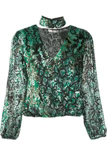Alice+Olivia Abstract Pattern Blouse - Verde