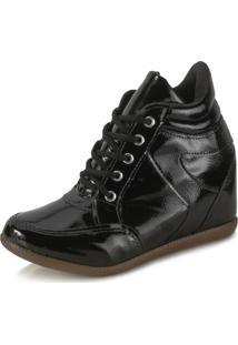Tênis Sneaker Ana Lucia Al18-2001 Verniz Preto