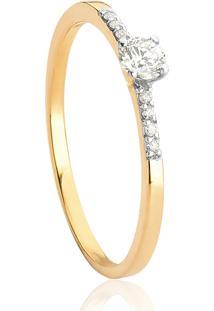 Anel De Ouro 18K Solitário Feminino Com Diamantes Rodinados-Coleção Desire