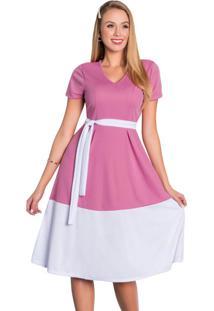 Vestido Rodado Com Prega Bicolor Moda Evangélica