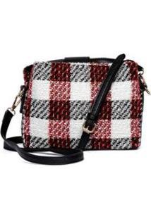 Bolsa Nice Bag Mini Bag Xadrez Tweed Tiracolo Delicada Feminina - Feminino-Branco+Vermelho