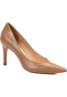 Scarpin Couro Shoestock Salto Alto Cobra - Feminino-Nude
