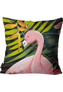 Capa Para Almofada Premium Peluciada Mdecore Flamingo Colorido 45X45Cm Cinza