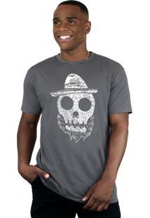 Camiseta Bleed American Beard Skull Chumbo.