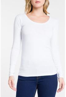 Blusa Ml Slim Logo Cot Gu - Branco Blusa Ml Slim Logo Cot Gu - Branco - Pp