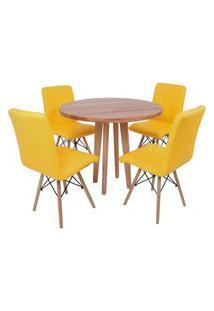 Conjunto Mesa De Jantar Em Madeira 90Cm Com Base Vértice + 4 Cadeiras Gomos - Amarelo