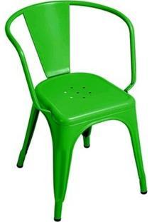 Cadeira Tolix Iron Com Braços - Verde Escuro