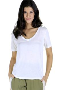 Camiseta Decote V Lisa Malha - Off-White - Feminino - Dafiti