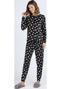 Pijama De Fleece Feminino Estampado De Corações Manga Longa Preto