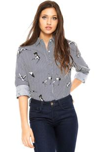 Camisa Facinelli By Mooncity Listras Aves Azul-Marinho/Branca