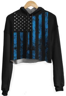 Blusa Cropped Moletom Feminina Over Fame Estados Unidos Md02 - Preto - Feminino - Poliã©Ster - Dafiti