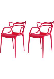 Kit 02 Cadeiras Facthus Amsterdam Vermelho
