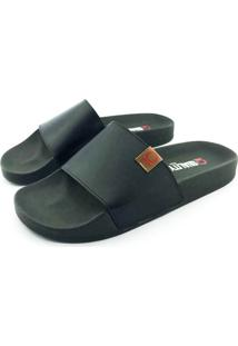 Chinelo Slide Quality Shoes Masculino Courino Preto Sola Preta 30 30