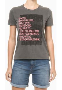 Blusa Feminina Slim Estampa Sucess Chumbo Calvin Klein Jeans - Gg