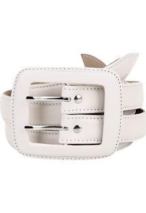 Cinto Couro Shoestock Duplo Fivela Forrada Feminino - Feminino-Off White