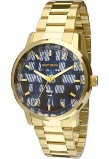 Relógio Mormaii Analógico Mo2036Hu-4A Feminino - Feminino-Dourado+Azul
