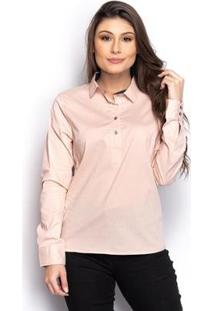 Camisa Camisete Social Feminina Lisa Manga Longa Casual - Feminino-Rose Gold