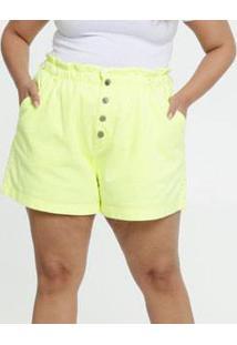Short Feminina Sarja Botões Neon Plus Size Razon