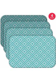 Jogo Americano Love Decor Wevans Blue Geometric Kit Com 4 Pçs