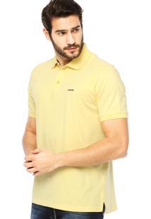 Camisa Polo Manga Curta Aleatory Bordado Fenda Amarela