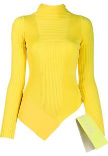 Off-White Blusa Assimétrica De Tricô - Amarelo