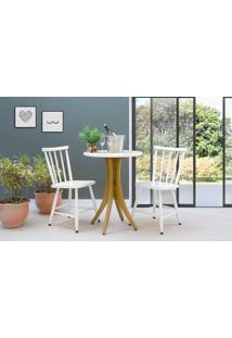 Mesa De Restaurante Com 2 Cadeiras Redonda Juliette - Amêndoa E Branco