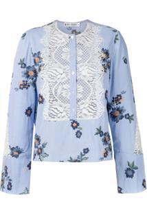 Lethicia Bronstein Blusa Estampada Recortes Em Renda - Azul
