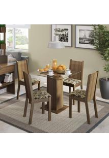 Conjunto Sala De Jantar Mesa E 4 Cadeiras Magda Madesa Rustic/Floral Bege/Marrom